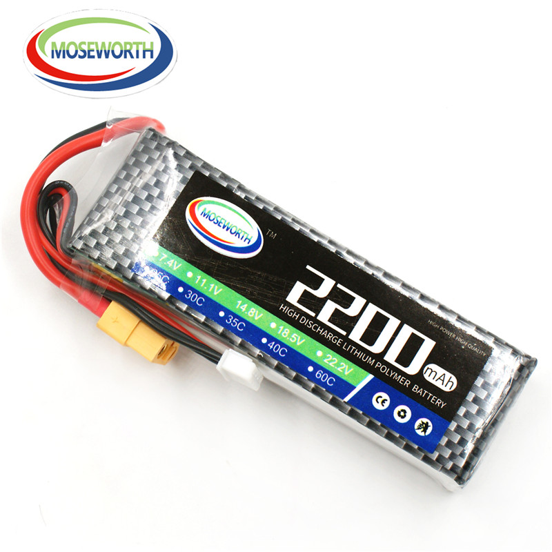 MOSEWORTH 2S RC airplane lipo battery 7.4v 2200mAh 60C For rc helicopter car boat quadcopter Li-Polymer batteria