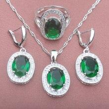 2c60bec606fa Conjunto de joyas de plata de ley 925 de cristal verde de la boda de la  joyería para las mujeres colgante collar pendientes anil.