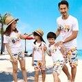 2016 Новый летний семья посмотрите одежда наборы Мода РЕБЕНКА матери дочь отец Сына Мальчики Девочки семейные футболки + Брюки наряды