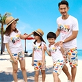 2016 New summer family look clothes sets Fashion BABY mother daughter father Son Boys Girls family  T shirts + Pants Outfits
