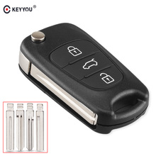 KEYYOU 20x carcasa de llave a distancia de coche 3 botones Flip Key Case para Kia K2 K5 Rio 3 Picanto Ceed Cerato para Hyundai Tucson ix25 ix35 i30