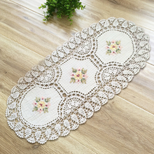 yazi Handmade Cotton Hollow Oval Rectangle Tablecloth Pastoral Thread Crochet White Beige Table Cover Party Wedding Decor