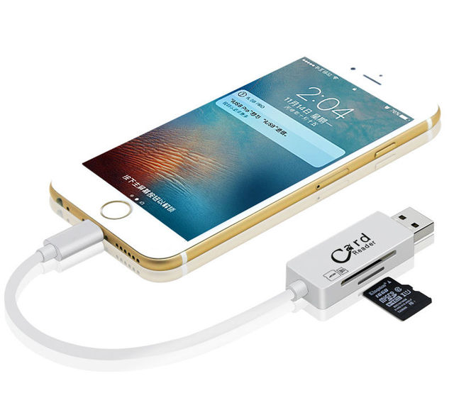 online store 96106 9f483 US $10.61 9% OFF|USB OTG Charger Cable For iPhone xs max xr for iPad  MicroSD SD SDHC TF Card Reader for iPhone 5 5S 6 6S 7 Plus 8 X PC  Computer-in ...