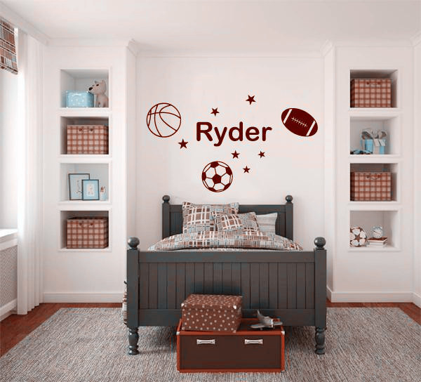 personalise name sports wall sticker basketball football soccer