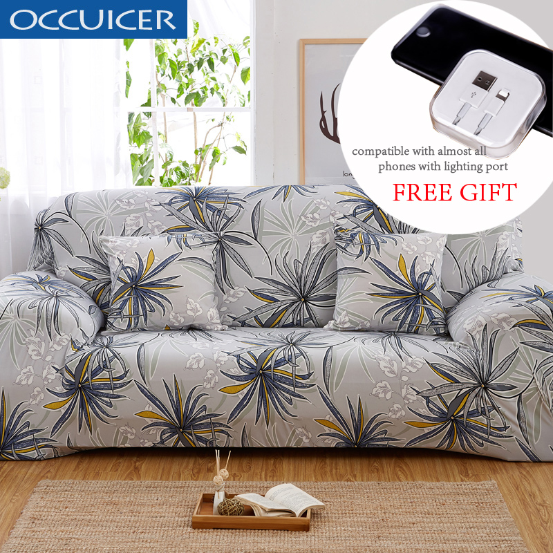Leaves Pattern Sofa Covers Elastic Stretch Universal Sectional Throw Couch Corner Cover Cases For Furniture Armchairs Home Decor