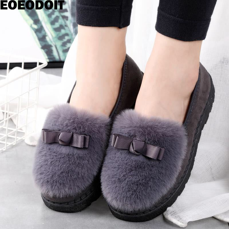 Eoeodoit Women Autumn Winter Fur Sneakers Flat Heel Slip On Round Toe Comfort Platform Flats Snow Shoes Slip Resistance Warm!!! Making Things Convenient For Customers