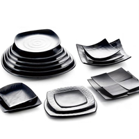 Black Matte The Restaurant Dish Seasoning Sauce Dish Porcelain Hot Pot Saucer Plastic Tableware Japanese Korean Dish