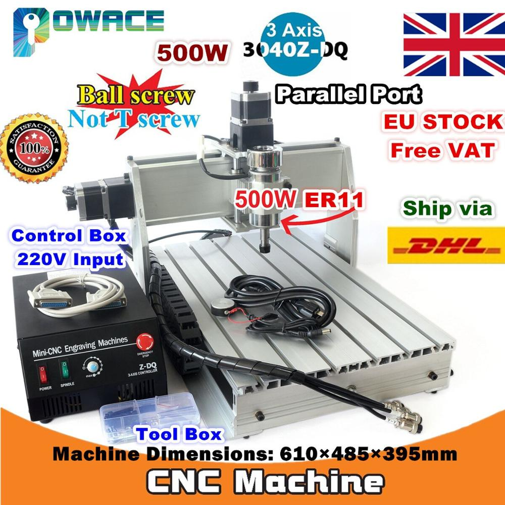 [EU Delivery/Free VAT] 3-Axis 500W 3040Z-DQ Parallel /USB Port Desktop Ball Screw 3040 CNC Router Engraving Milling Machine 220V