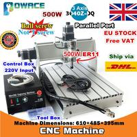 [EU Delivery/Free VAT] 3 Axis 500W 3040Z DQ Parallel /USB Port Desktop Ball Screw 3040 CNC Router Engraving Milling Machine 220V