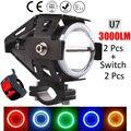 2PCS 125W Motorcycle Headlights 3000LMW Motorbike spotlight U5 U7 LED Moto Driving Fog Spot Head Light Lamp DRL with switch 2016