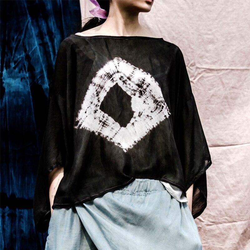 Johnature femmes T Shirts soie 2019 été nouveau col rond à manches courtes décontracté qualité lâche hauts noirs Vintage cravate teinture T Shirts-in T-shirts from Mode Femme et Accessoires on AliExpress - 11.11_Double 11_Singles' Day 1