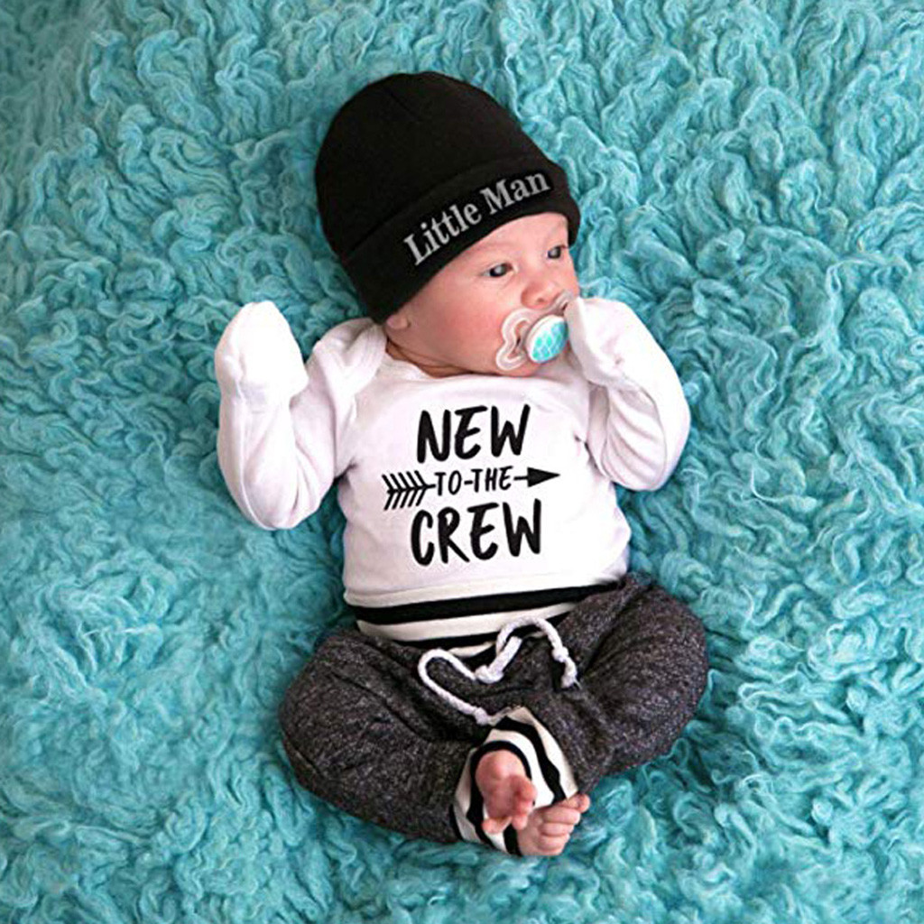 Одежда для новорожденных мальчиков, комбинезон с надписью, топ + длинные штаны + шляпа, комплект из 3 предметов, Одежда для новорожденных девочек, брендовая одежда для новорожденных