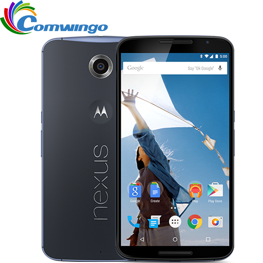 "Original Motorola Google Nexus 6 XT1103 XT1100 3GB RAM 32GB/64GB ROM Quad Core 4G LTE Cell Phone 5.96"" inch 13MP Refurbished-in Cellphones from Cellphones & Telecommunications"