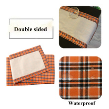 OHEART Orange Buffalo Plaid Table Runners Waterproof Double Sided Runner Parties Everyday Use Halloween Party Decoration