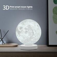 3D Printed Smart Moon Lamp Colorful Lunar Moon Light Amazon Alexa Google Assistant WiFi Voice Control Table Desk Lamp Creative