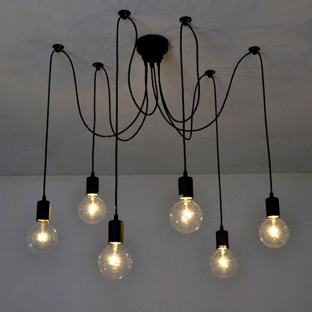 6 Arms Vintage Edison Multiple Ajustable DIY Ceiling Spider Lamp Light Pendant Lighting Modern Chic Industrial Dining