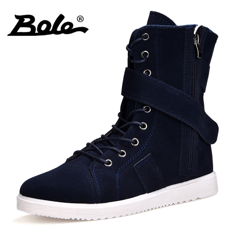 BOLE Men Breathable Boots Spring Autumn Canvas Boots Lace Up Flat Casual Shoes for Men Comfortable Fashion Men Boots Sneakers hot sale spring autumn man flat high top comfortable sneakers genuine leather lace up men black color casual shoes brand boots