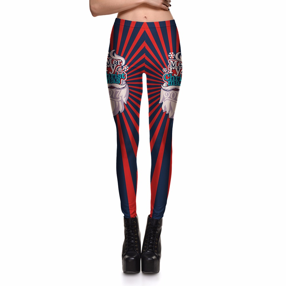 Hot Sale Women Legging Slim Women's Christmas Grandfather Festive Stripes  Red&Black Leggings Digital Print Pants Trousers - Popular Black And Red Striped Leggings-Buy Cheap Black And Red