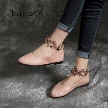 Tastabo nuevas de cuero de las mujeres hebilla en el tobillo para zapatos solo zapatos simples y casual salvaje Vintage apliques con diseño cómodo suela