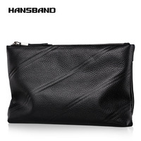 Hansband Genuine Leather Clutch Bag Men Fashion Leisure Envelope Handbags And Purses Solid Black Clutches Soft