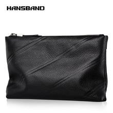 Hansband Genuine Leather Clutch Bag Men Fashion Leisure Envelope Handbags and Purses Solid Black Clutches Soft Leather Bag