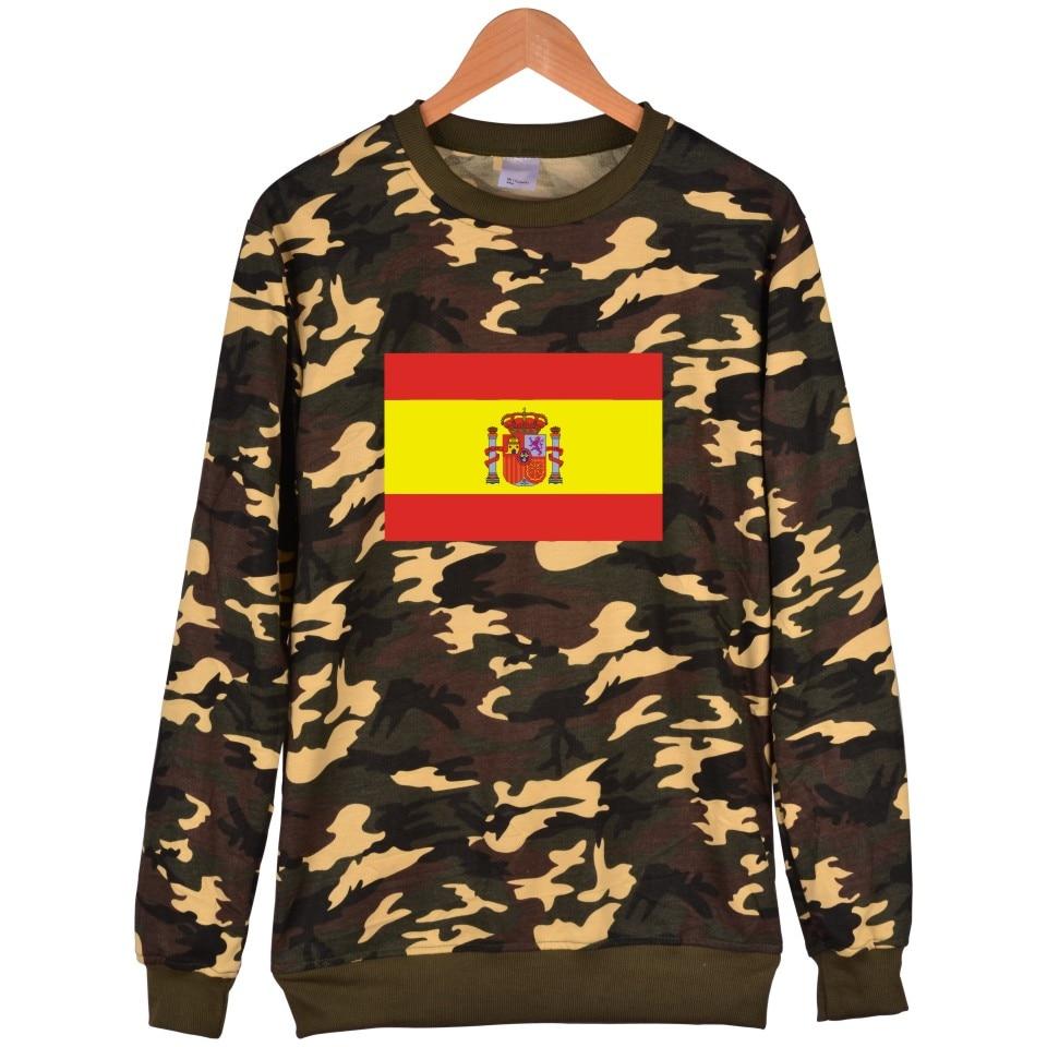 Spanish Espagne FLag Capless Mens Hoodies And Sweatshirts Russian Federation Camoufage Hoodies Men Hip Hop Plus Size 4XL