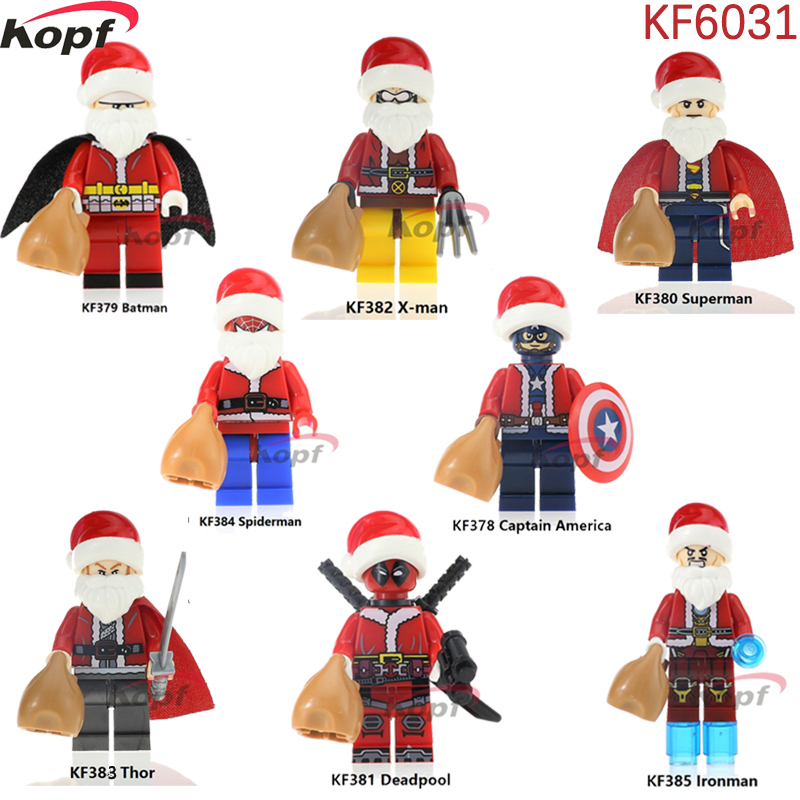 Single Sale Merry Christmas Super Heroes Captain America Batman Superman Deadpool X man Building font b