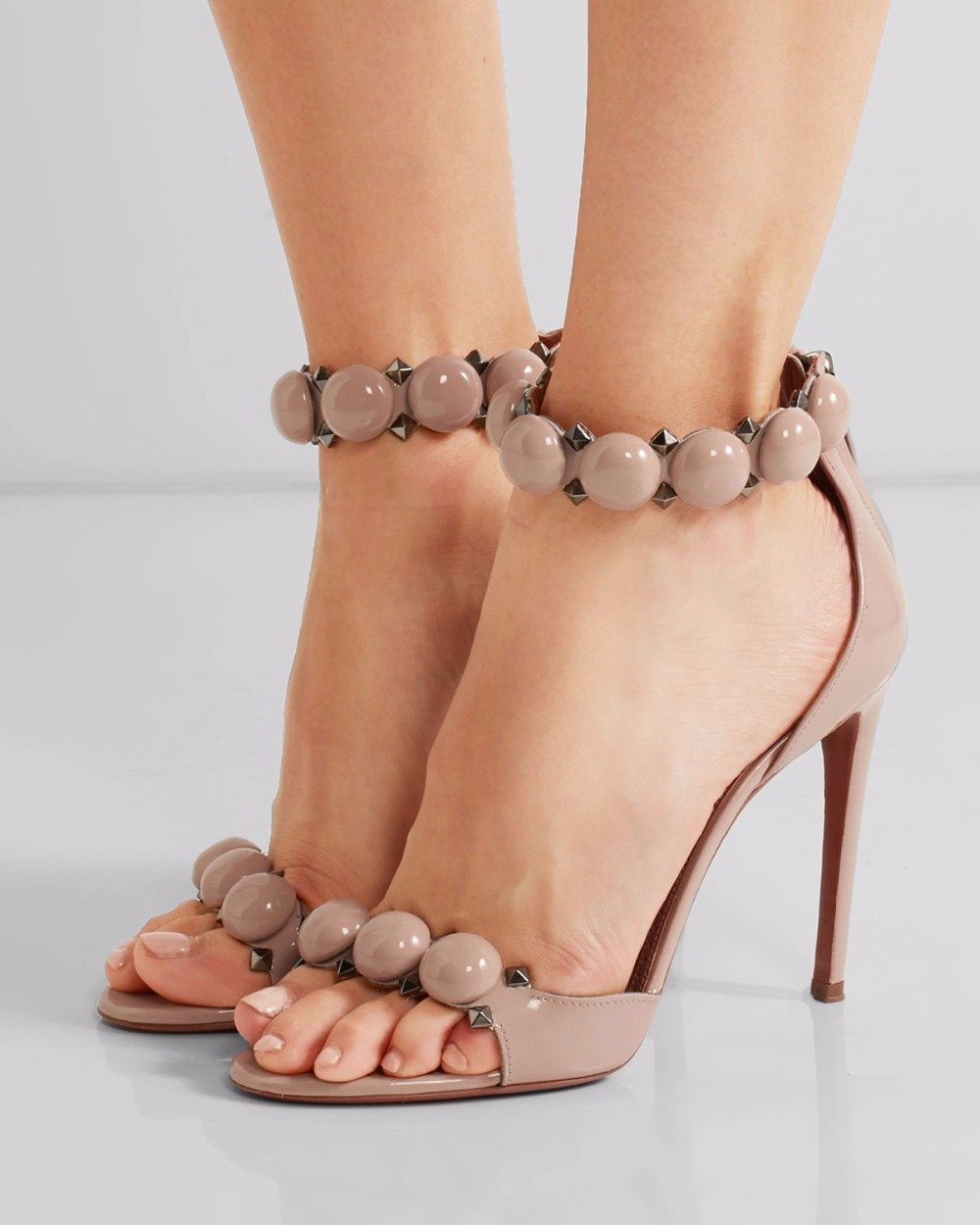 d40aa616ab53 Fashion T-bar High Heels Women s Sandals Open Toe Sexy Summer Party Shoes  Pom Pom Buttoned Straps Studded nude Suede Sandals