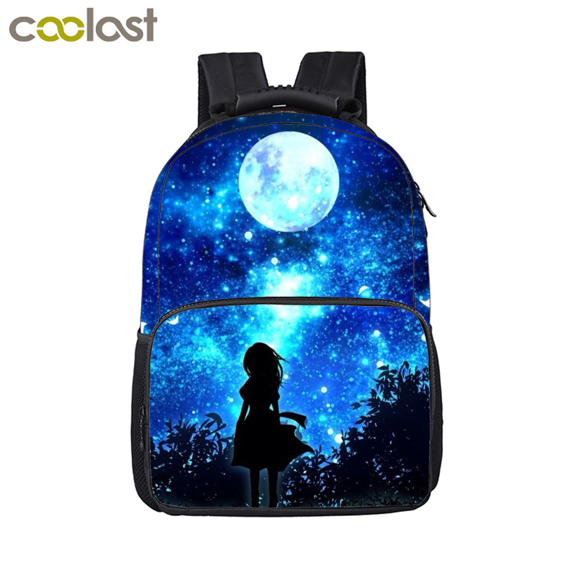Galaxy Backpack School Bags for Girls Boys Wolf Teenager Harajuku Bag Children Laptop Backpack Male Space mochila Men Travel Bag