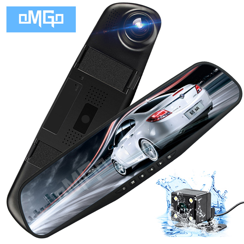 OMGO Car Dvr Dash Cam Dual Len Rear View Mirror Auto Dashcam Recorder Camera