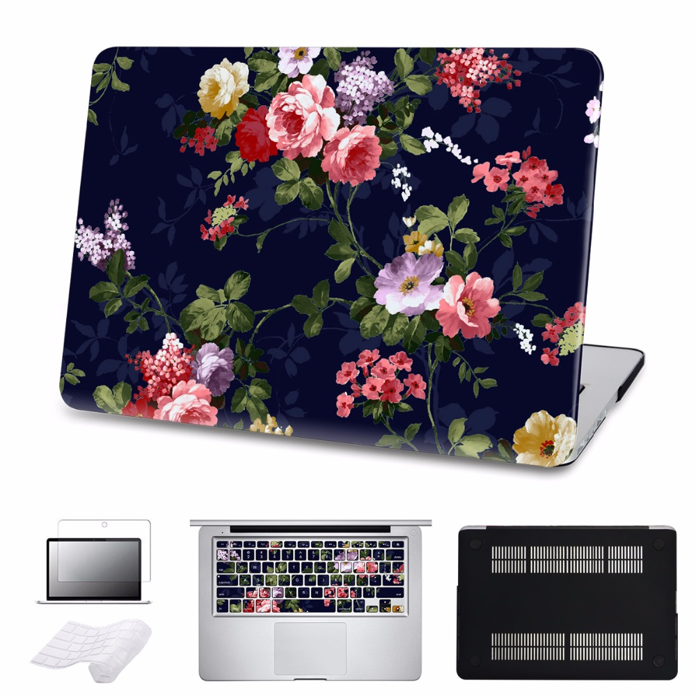 Colorful Floral Case For Macbook Air/Pro 11 12 13 15 Ratina Laptop Hard Cases for Pro 13 15Touch bar Cover Shell 5 in 1 Bundle
