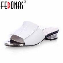 FEDONAS New Summer High Quality Square Heels Genuine Leather Shoes Women Sandals Ladies Flat White Black Open Toe Ladies Slipper