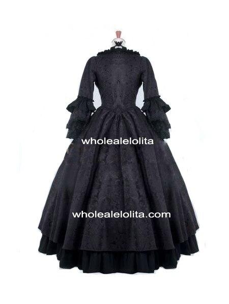 Черный готический Антуанетта Стиль викторианской бальные платья викторианской платье