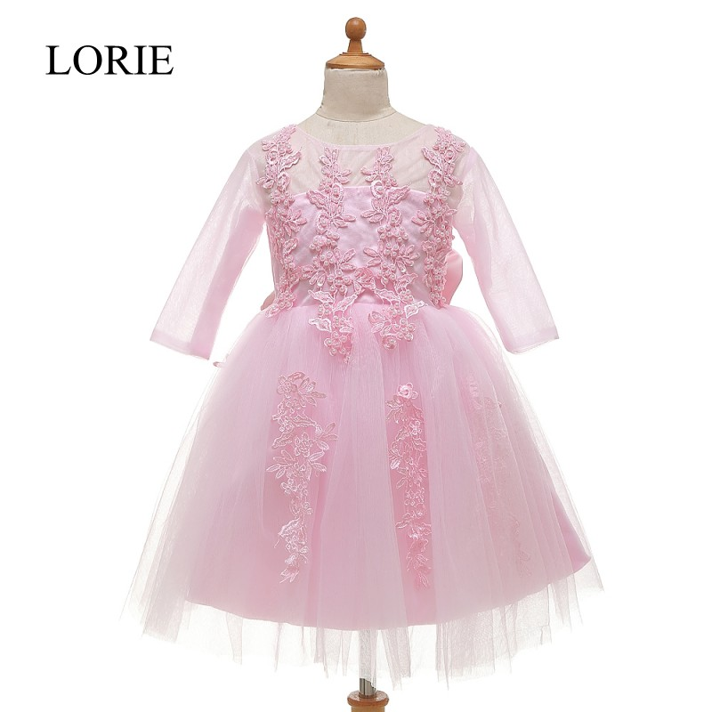 Pink   Flower     Girl     Dresses   Long Sleeve Vestidos Primera Comunion 2016 First Communion   Dresses   For   Girls   Pageant Gowns With Bow