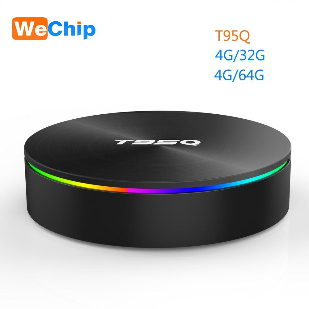 Wechip T95Q 4G + 64G Android 9.0 LPDDR3 Amlogic S905X2 TV BOX Quad Core 2.4G + 5 GHz Wifi BT4.1 1000 M H.265 4 K 4G + 32G lecteur multimédia