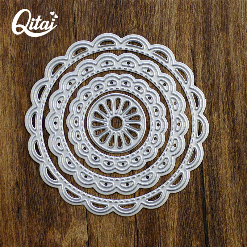 QITAI 4st / pack Cirkel Ring Form Delikat Pretty Paper Cutting Dö Metallmaterial För DIY Scrapbooking Decorate Party 2018 D04