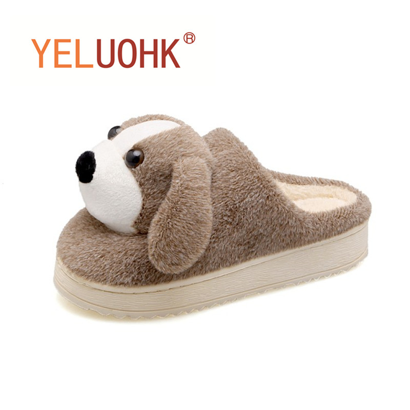 Plush Slippers Animals Home Shoes For Women Home Slippers Female Indoor Winter Fur Slippers Women soft plush big feet pattern winter slippers