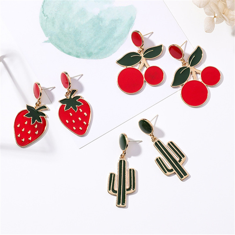 Red Cherry, Strawberry, Cactus Stud Earrings