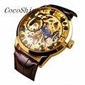 CocoShine A-999 Men Mecânica Esqueleto Relógio Vento Mão Ouro Dial Brown Leather Strap atacado Frete grátis