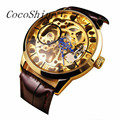 CocoShine A-999 Men Mechanical Skeleton Watch Hand Wind Up Gold Dial Brown Leather Strap wholesale Free shipping
