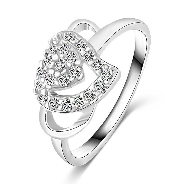 Fashion White Gold Color Jewelry Love Rings Heart Design Female Ring
