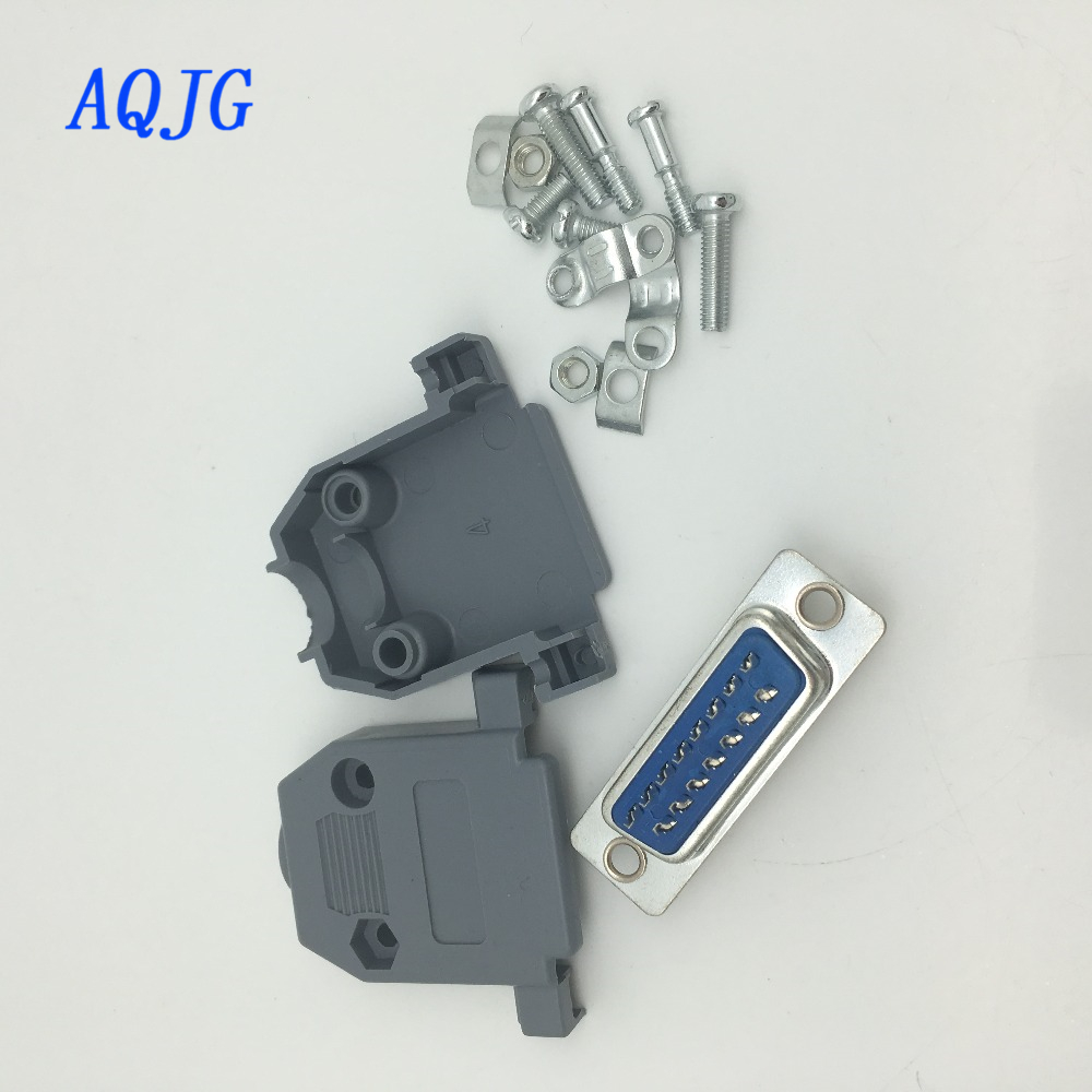 (10pcs/lot) Parallel Serial Port DB15 15 Pin 15 Way D Sub male Solder Connector + Plastic Assemble Shell Cover VGA Adapter AQJG 10 pcs d sub 15 pin male solder type plug adapter vga connector serial ports db15m
