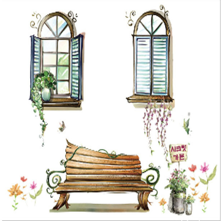 Fake Windows Bench Potted Plant Wall Sticker Living Room Office Wall Decal Home Decor Wallpaper Poster Wall Decoration Appliques