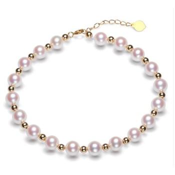 Sinya Pure real 18K gold beads and Natural pearls strands Anklets bracelets choker necklace length 16cm-45cm optional Hot sale 1