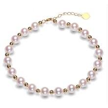Sinya Reine echte 18K gold perlen und Natürliche perlen stränge Fußkettchen armbänder halsband halskette länge 16cm 45cm optional Heißer verkauf