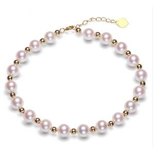 Image 1 - Sinya Reine echte 18K gold perlen und Natürliche perlen stränge Fußkettchen armbänder halsband halskette länge 16cm 45cm optional Heißer verkauf