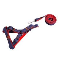 Pet Dog Puppy Denim Leash Lead Harness Shoulder Back Chest Strap Belt Adjustable