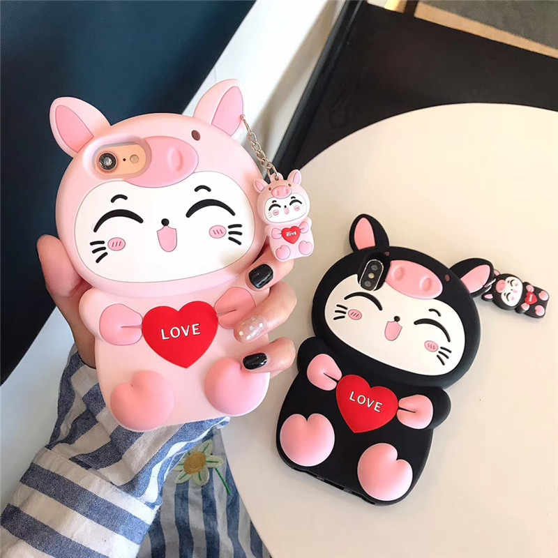 3D Cartoon Fashion Pink Cat Love Soft Silicone Phone Case For Redmi S2 7 5 PIus Note 7 5 Pro Cover For Xiaomi 9 6X A1 Case