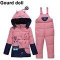 Gourd doll bebé infantil niño niña traje para la nieve mono caliente del invierno abrigos abrigos kid clothing sets mameluco chaqueta de down parkas