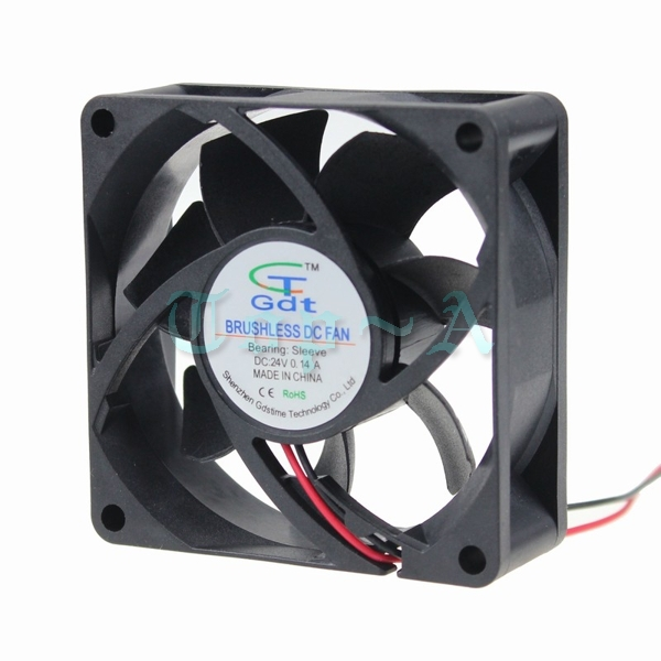 Gdstime 200 pcs/lot Black 2 Pin DC Brushless Fan 24V 7cm 70x70x25mm PC Computer CPU Cooling Fan 70mm